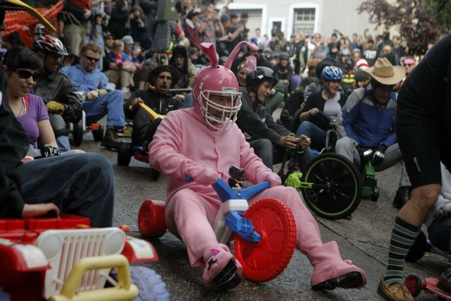 Spend your Easter in alternative fashion at the Bring Your Own Big Wheel race on Vermont Street... Photo: Jessica Olthof, The Chronicle