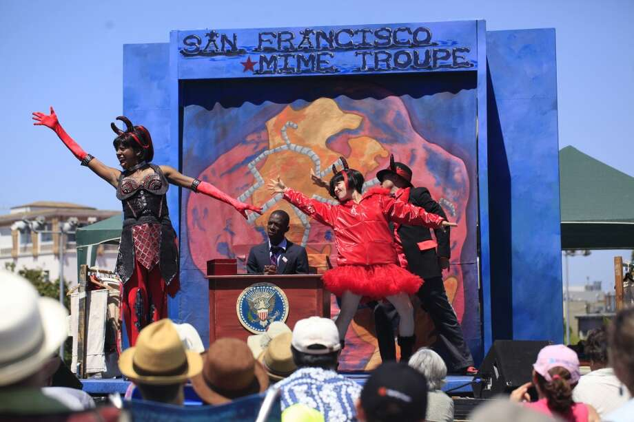 Catch a performance by the S.F. Mime Troupe at Dolores Park or numerous other Bay Area locations. Photo: Mike Kepka, The Chronicle