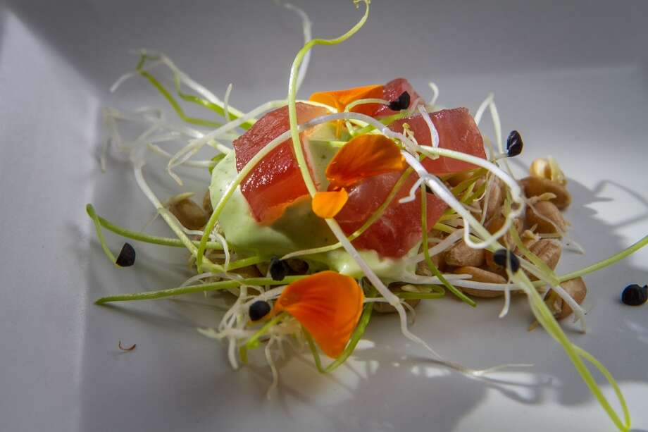 Wild Ahi Tuna with Salsa de Ajo amuse at  Palace in San Francisco. Photo: John Storey, Special To The Chronicle