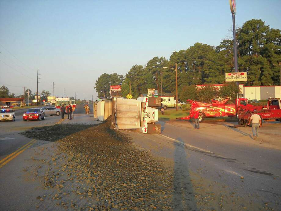 Gravel truck that turned over Monday August 19 at Hwy 190 and Hwy 96. Photo by Jeff Reedy