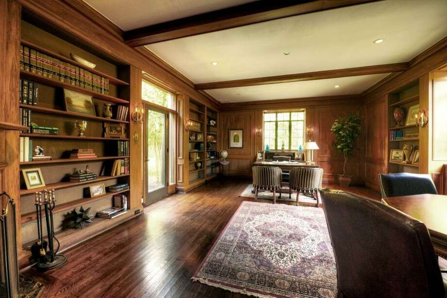 This majestic 24' x 17' study was where Gov. Hobby tended to his business while operating the Houston Post-Dispatch. A preservationist stated that this room is paneled in cherry wood.See the listing here.Prominent trial lawyer selling suburban home