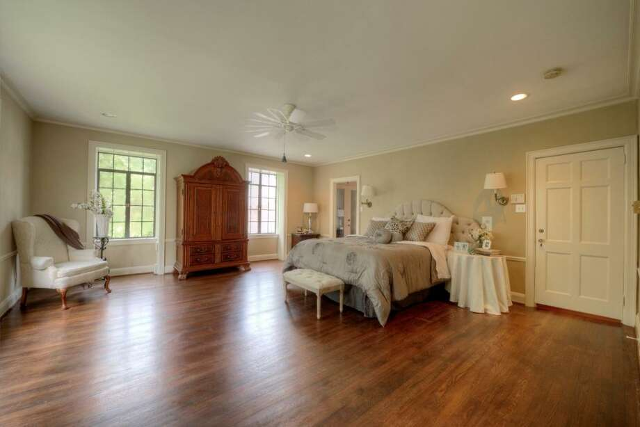 The master bedroom measures more than 300 square feet, 19' x 18'. Expansive, yet elegant, this master suite provides a footprint large enough to accommodate the most grand of bedroom furnishings.See the listing here.