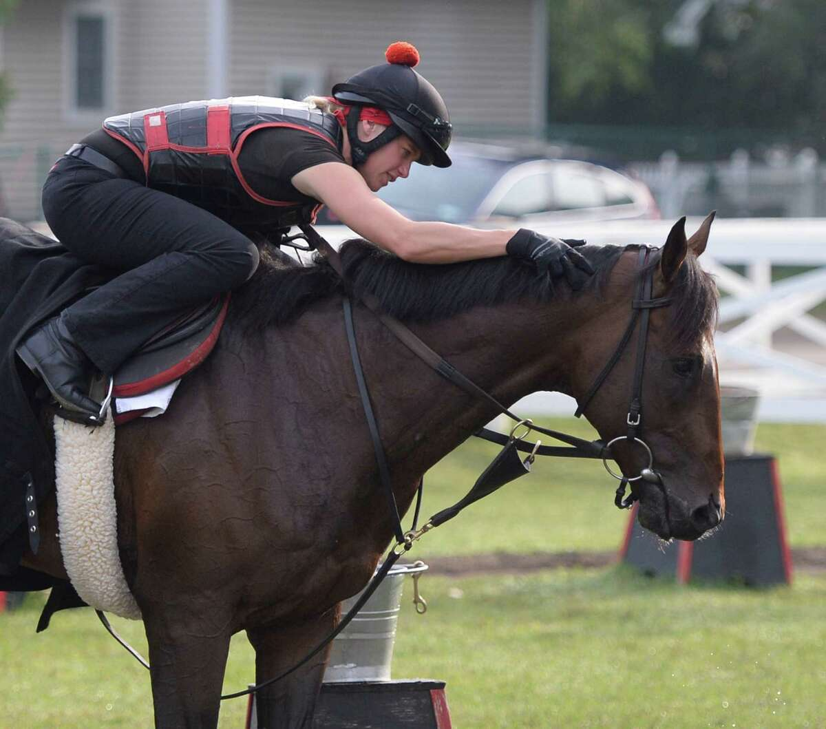 Exercise rider Jen Patterson gives Kentucky Derby winner Orb some affection Monday morning, Aug 19, 2013, before his final major work on the Oklahoma Training Center track in Saratoga Springs, N.Y. Orb will compete in Saturday's Travers Stakes at Saratoga Race Course. (Skip Dickstein/Times Union)