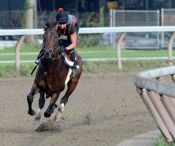 Exercise rider Jen Patterson guides Kentucky Derby winner Orb  though his final major work on the Oklahoma Training Center track  Monday morning, Aug 19, 2013, in Saratoga Springs, N.Y.  Orb will compete in Saturday's Travers Stakes at Saratoga Race Course.  (Skip Dickstein/Times Union) Photo: SKIP DICKSTEIN