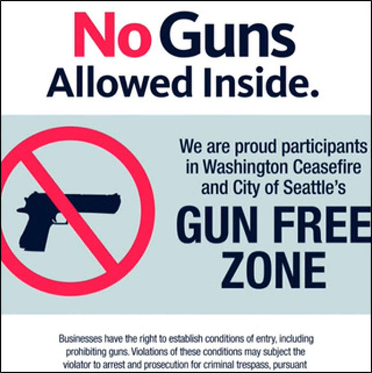 A decal that will be available to Seattle businesses who wish to participate in the voluntary ban on guns in their stores.