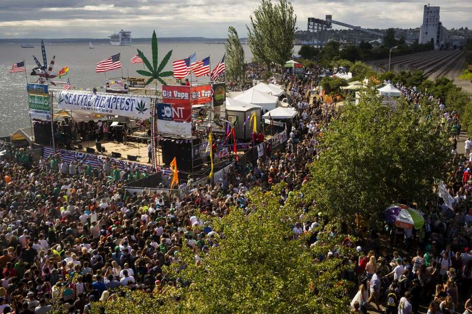 Thousands crowd the stages and walkways on the third and final day of Seattle Hempfest Sunday, August 18, 2013, at Myrtle Edwards Park in Seattle. (Jordan Stead, seattlepi.com) Photo: JORDAN STEAD, SEATTLEPI.COM