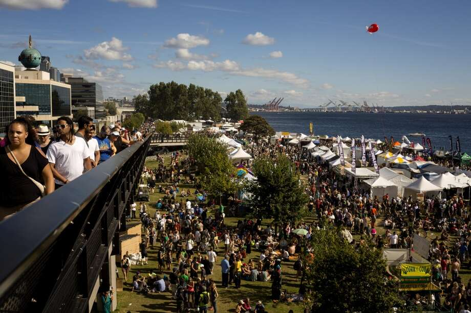 Thousands crowd the walkways and waterfront on the third and final day of Seattle Hempfest Sunday, August 18, 2013, at Myrtle Edwards Park in Seattle. (Jordan Stead, seattlepi.com) Photo: JORDAN STEAD, SEATTLEPI.COM
