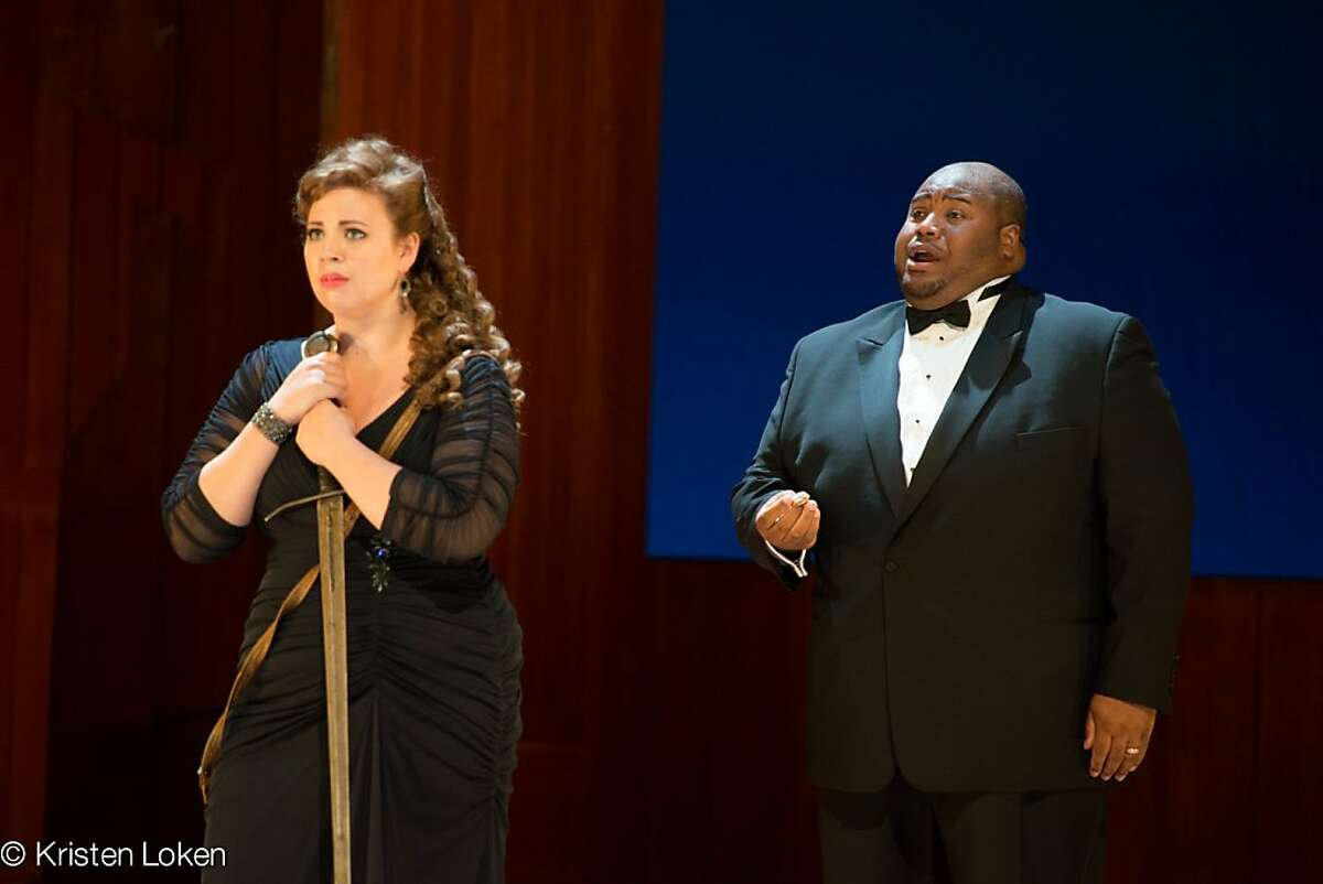 Soprano Aviva Fortunato (l.) and tenor Issachah Savage in a scene from Wagner's