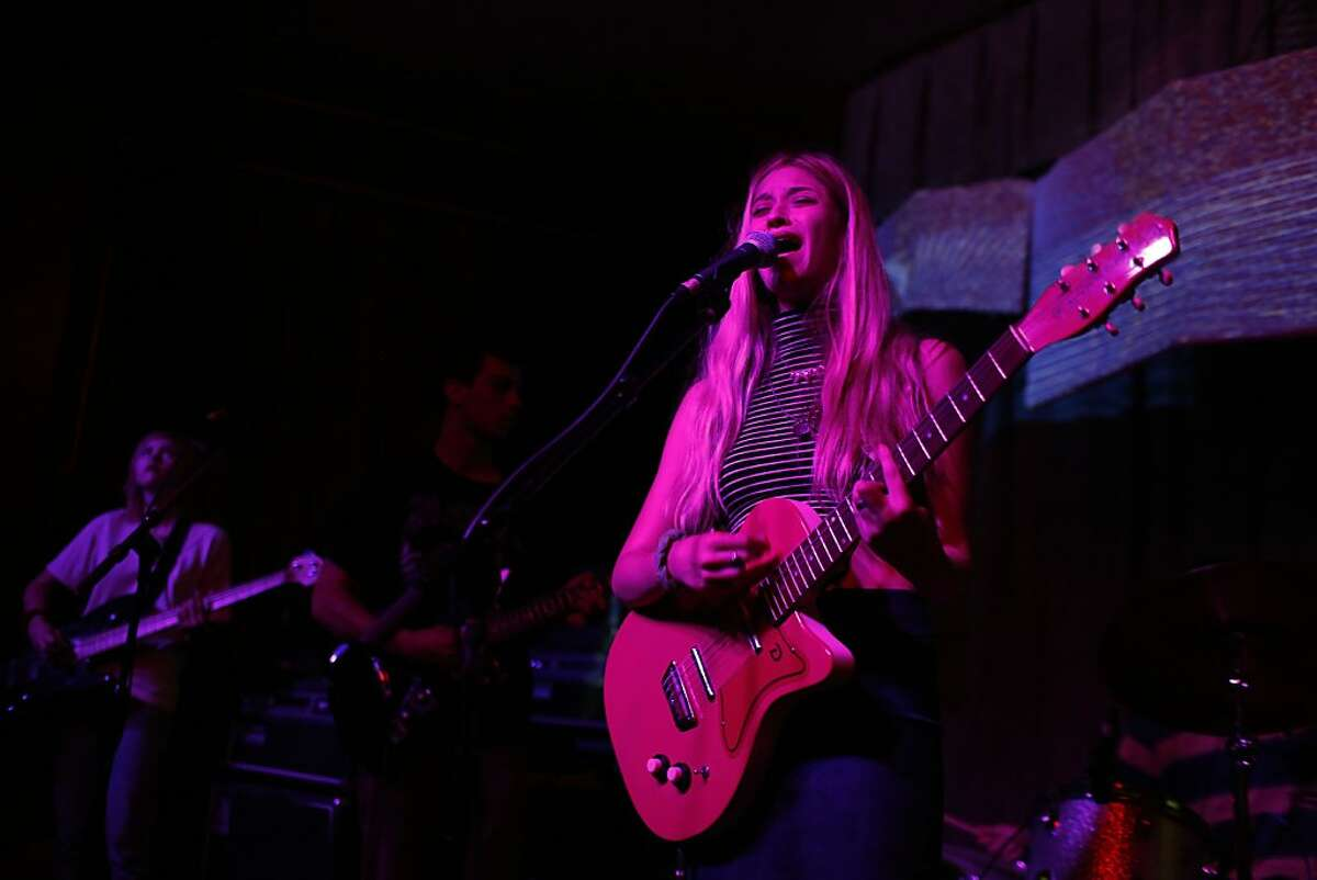 Melissa Brooks of The Aquadolls sings at the Brick and Mortar Music Hall which had to install soundproofing to their venue because of neighborhood complaints in San Francisco, Calif. on August 15, 2013.