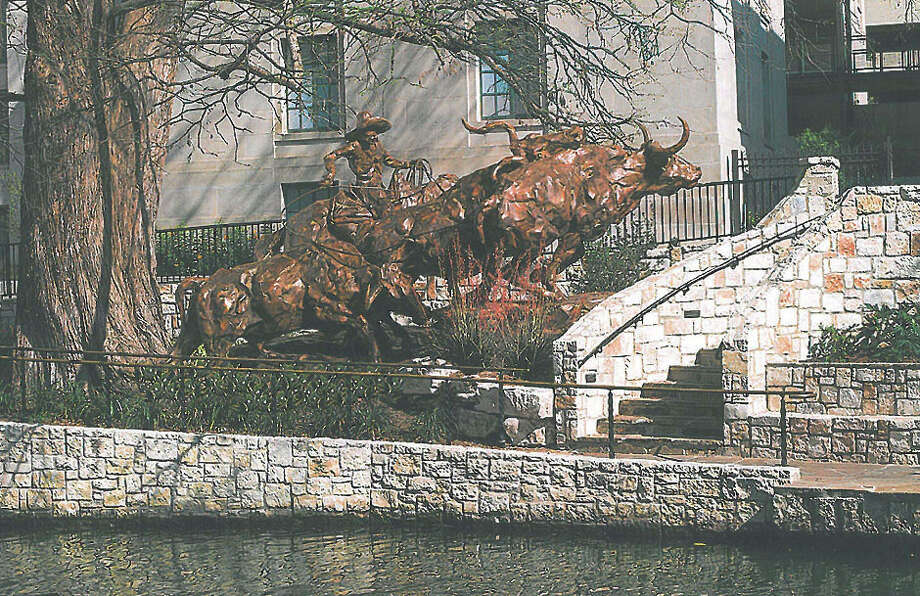 """Three Longhorns and Vaquero,"" by national artist T.D. Kelsey, would be a permanent bronze sculpture next to the Briscoe Western Art Museum's River Walk entrance. Kelsey designed the piece specifically for that location. Photo: COURTESY PHOTO"