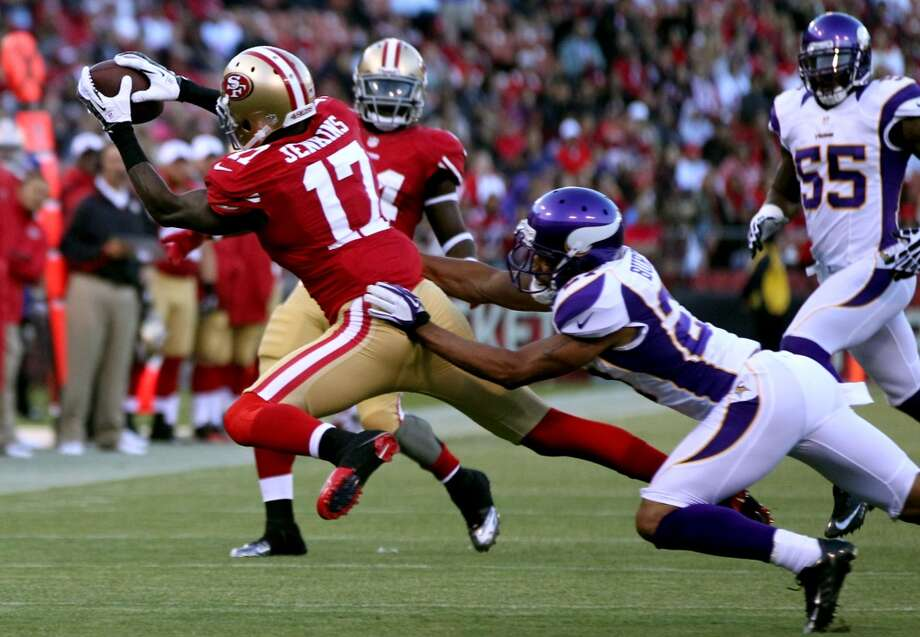 San Francisco 49ers A.J. Jenkins catches a Colin Kaepernick pass for a second quarter first down against the Minnesota Vikings in a preseason exhibition game Friday August 10, 2012 in San Francisco Calif. Photo: Lance Iversen, The Chronicle