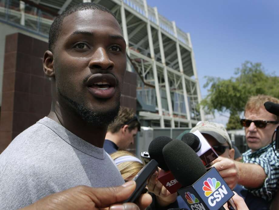 Wide receiver A.J. Jenkins meets with sports reporters during a break of the 49ers minicamp in Santa Clara, Calif. on Tuesday, June 11, 2013. Photo: Paul Chinn, The Chronicle