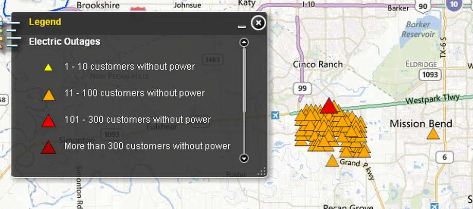 Power is out for thousands, accoring to CenterPoint's outage tracker. (CenterPoint)