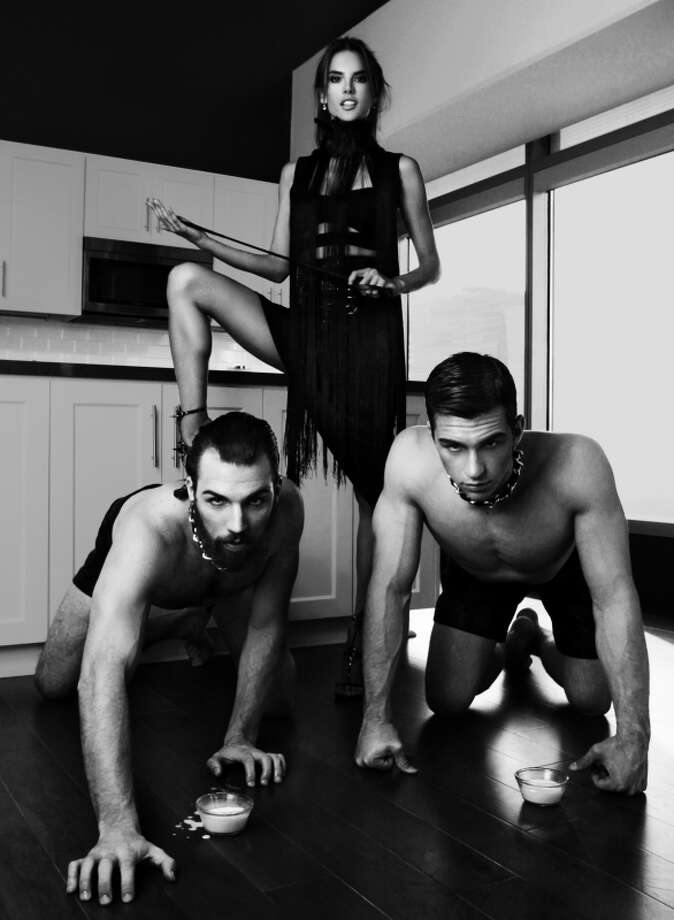 """America's Next Top Model -- """"The Guy who Gets a Weave"""" pictured left to right: Phil, Jeremy and Alessandra Ambrossio (standing) Cycle 20 Photo: Sarah Silver/Pottle Productions Inc ©2013 Pottle Productions Inc. All Rights Reserved. Photo: Sarah Silver, Pottle Productions Inc / ©2013 Pottle Productions Inc. All Rights Reserved."""