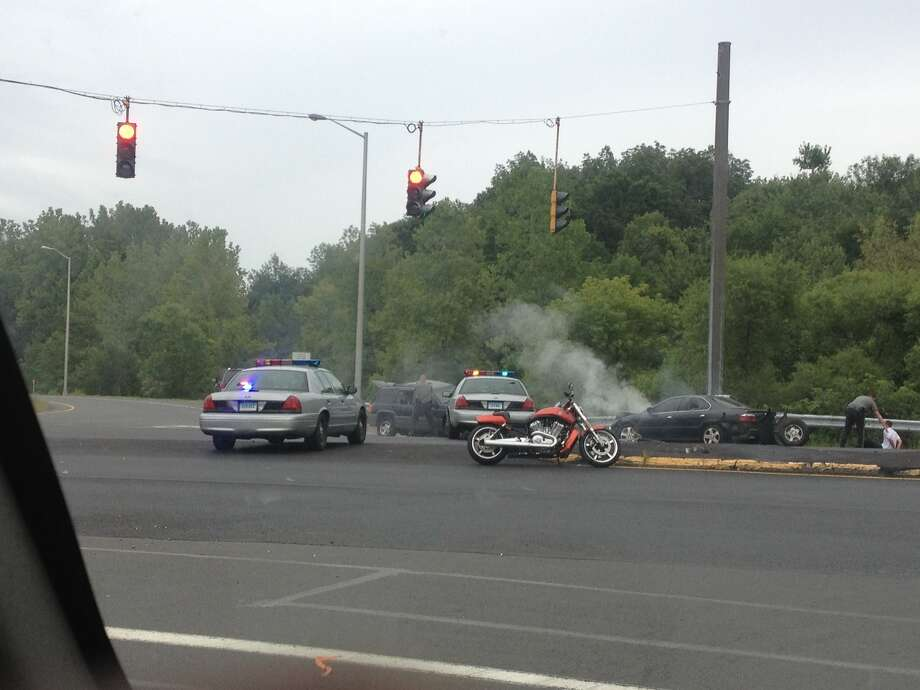 Reader-submitted photo of a police chase that ended in a crash on White Turkey Rd.