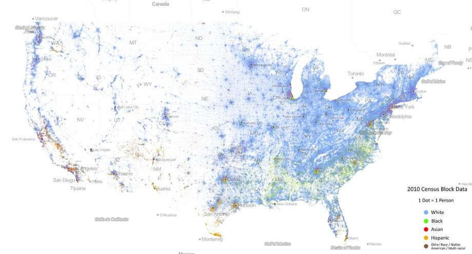 University Publishes Stunning Diversity Map Of US Houston Chronicle - Virginia on us map