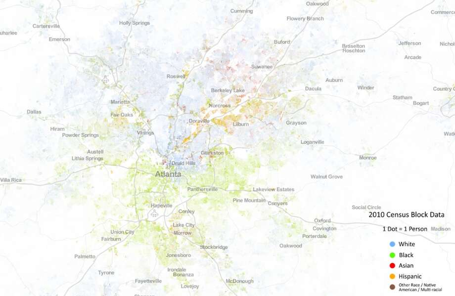 This view shows Atlanta and numerous surrounding towns. (Courtesy the University of Virginia)