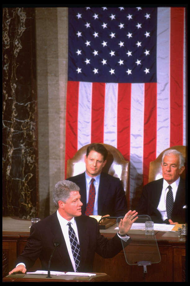 President Bill Clinton delivering his State of Union address on Jan. 25, 1994,, with Tom Foley and Al Gore in the background Photo: Diana Walker, Getty / Diana Walker