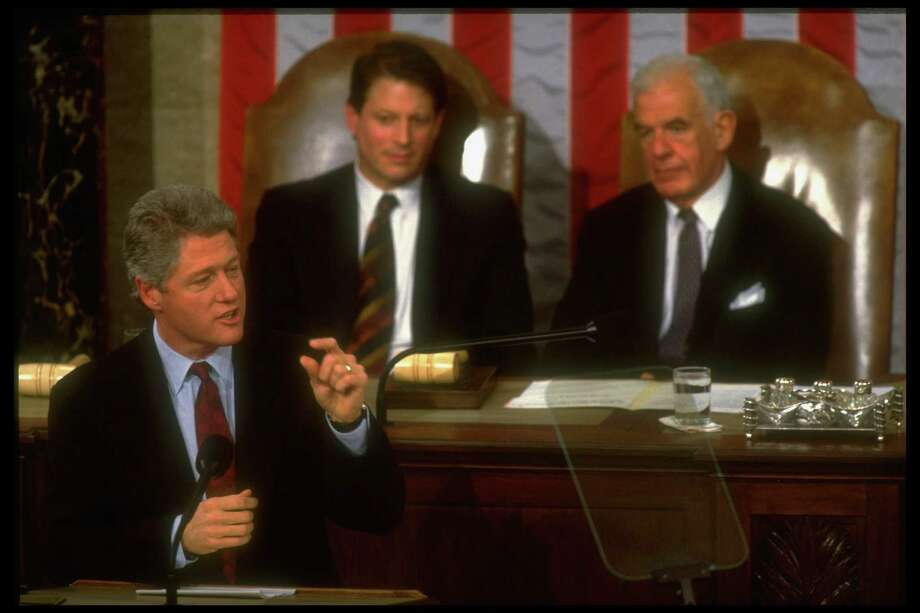Presient. Bill Clinton delivering his economic address to joint session of Congress, framed by Tom Foley and Al Gore. Photo: Dirck Halstead, Getty / Dirck Halstead