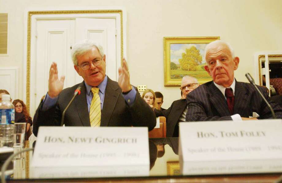 -Former House Speakers Newt Gingrich and Tom Foley testify before the House Homeland Security Rules Subcommittee  Photo: Scott J. Ferrell, Getty / Congressional Quarterly Inc.