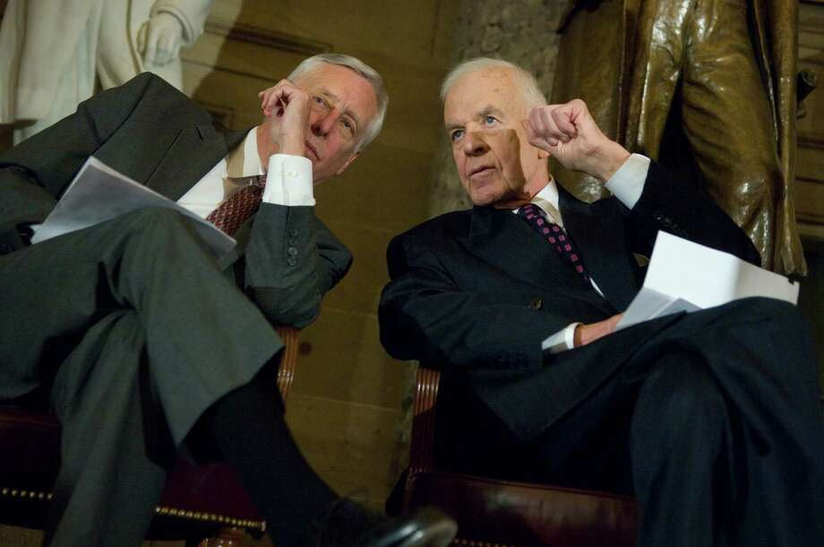 Former Speaker of the House Tom Foley, D-Wash., right, talks with House Majority Leader Steny Hoyer, D-Md., during a ceremony in Statuary Hall where Foley was honored with the Capitol Historical Society Freedom Award. Photo: Tom Williams, Getty / Roll Call Photos