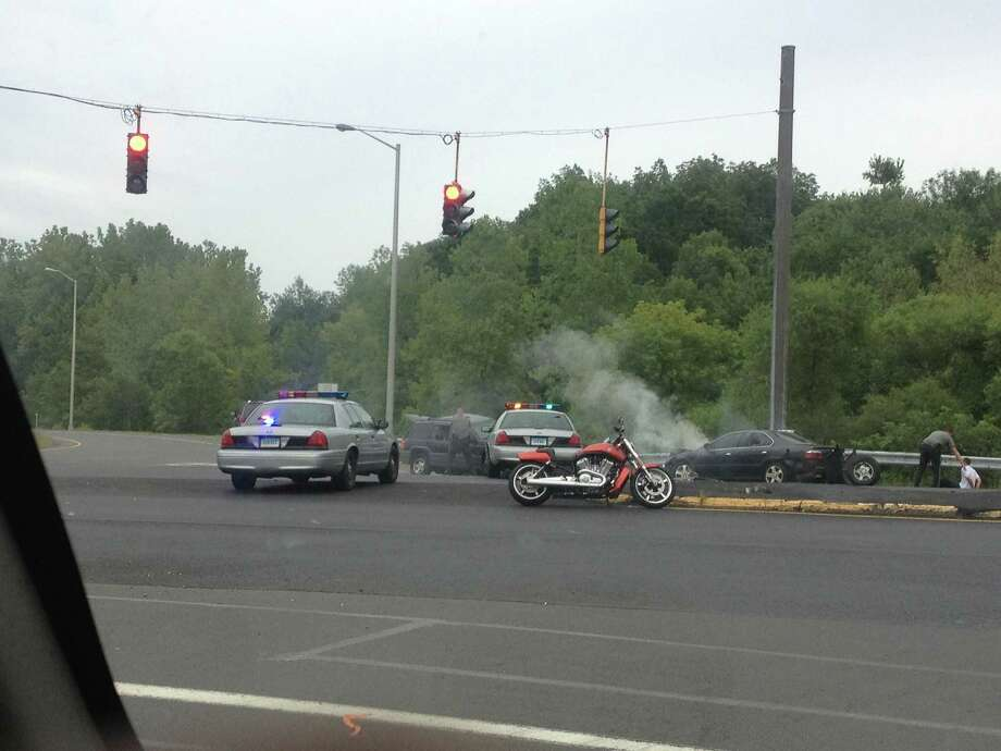 Reader-submitted photo of a police chase that ended in a crash on White Turkey Rd. Photo: Contributed
