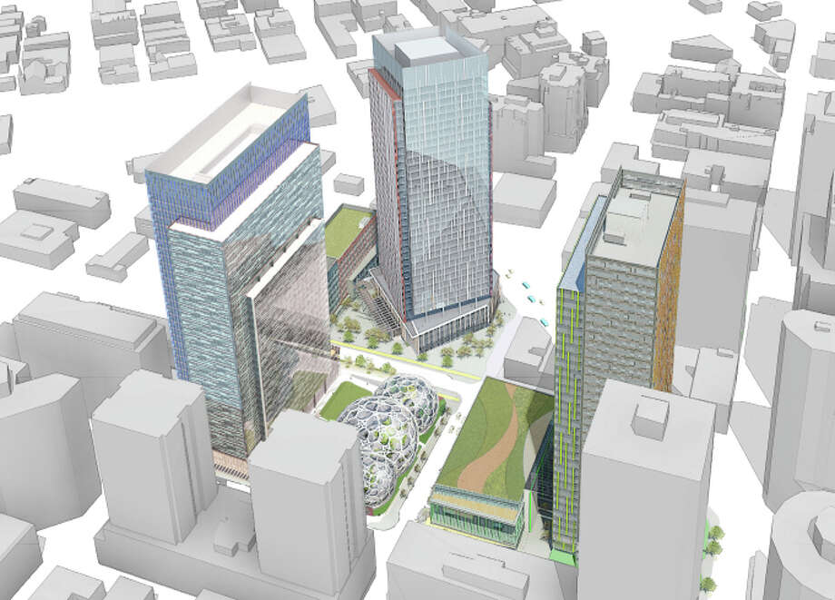 An aerial view of Amazon's proposed Downtown Seattle campus is shown in this artist's rendering. Photo: NBBJ,  Amazon