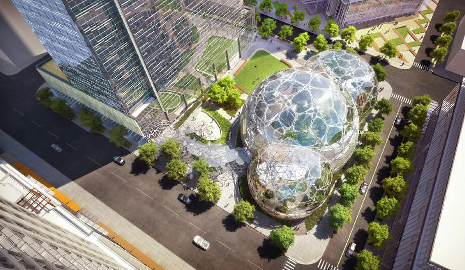 An aerial view of the spheres on Amazon's proposed Downtown Seattle campus is shown in this artist's rendering. Photo: NBBJ, Amazon