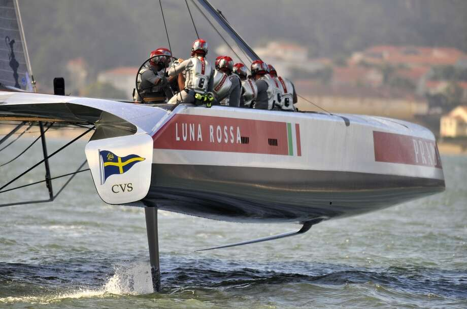 Luna Rossa Challenge sails during a practice run in San Francisco, California on August 18, 2013. Photo: JOSH EDELSON, AFP/Getty Images