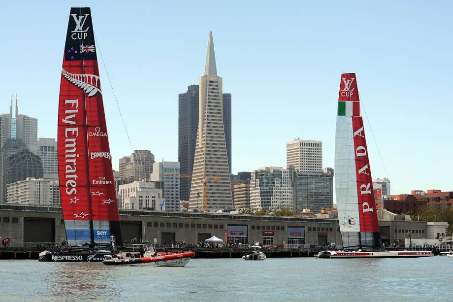 Luna Rossa Challenge and Emirates Team New Zealand boats are seen on their moorings before the start of their Louis Vuitton Cup Finals race number 2 in San Francisco, California, Sunday August 18, 2013. Photo: Michael Short, Special To The Chronicle