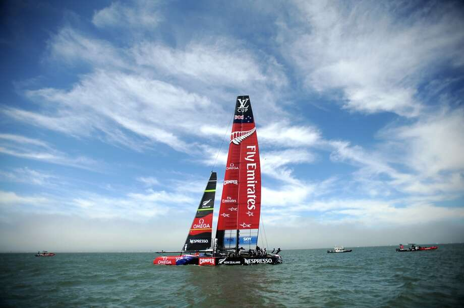 Emirates Team New Zealand's AC72 sits in the water after suffering hydraulic problems which led to them losing their race against Luna Rossa Challenge during the Louis Vuitton Cup Finals race number 2 in San Francisco, California, Sunday August 18, 2013. Photo: Michael Short, Special To The Chronicle