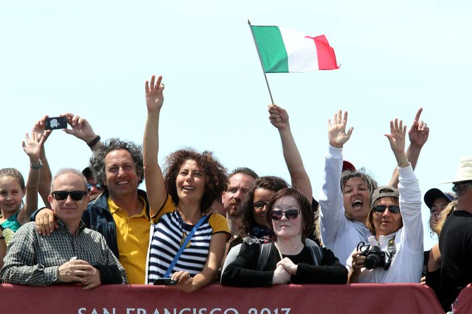 Fans at the America's Cup Pavilion cheer for Luna Rossa Challenge's win against Emirates Team New Zealand during the Louis Vuitton Cup Finals race number 2 in San Francisco, California, Sunday August 18, 2013. Photo: Michael Short, Special To The Chronicle
