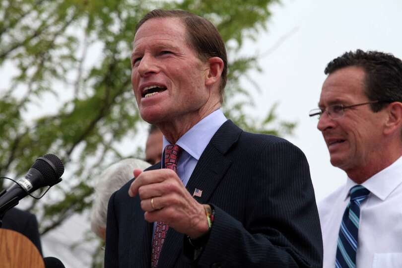 Senator Richard Blumenthal speaks at the grand opening of the new West Haven train station at 20 Rai