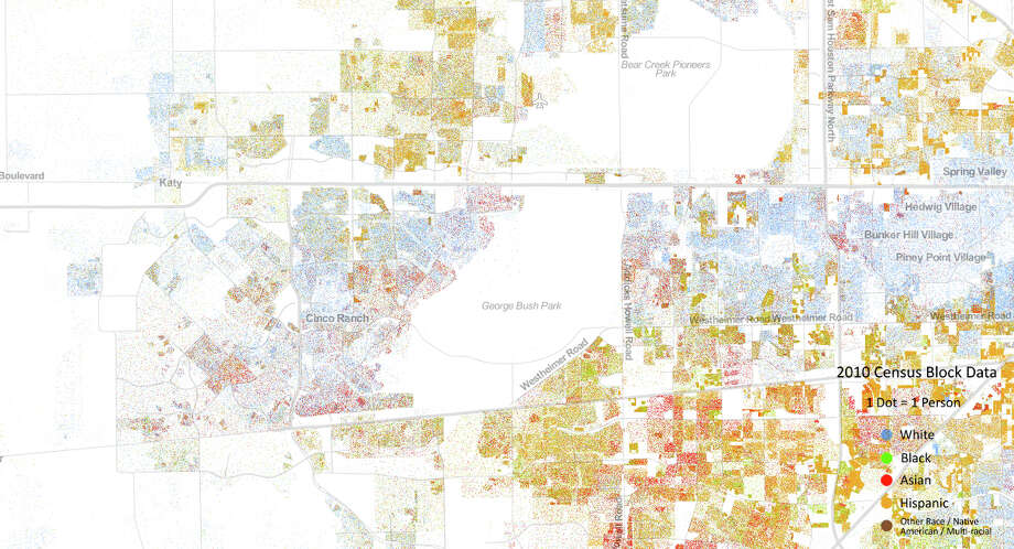 A look at Katy/West Houston shows population is less dense outside Beltway 8. (Courtesy the University of Virginia)