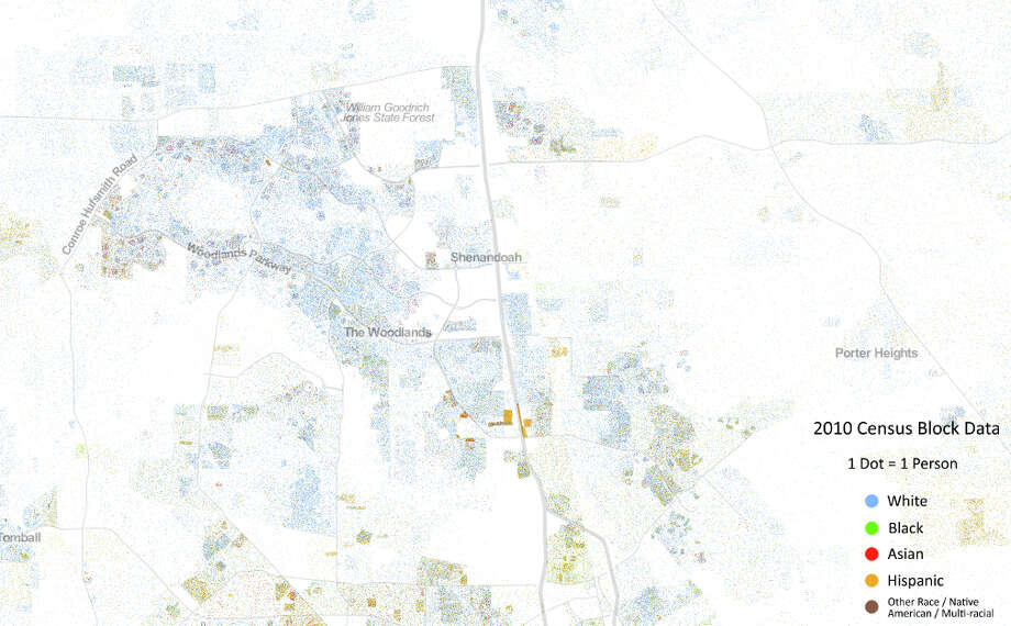 A look of racial distribution north of Houston to The Woodlands (Courtesy the University of Virginia)
