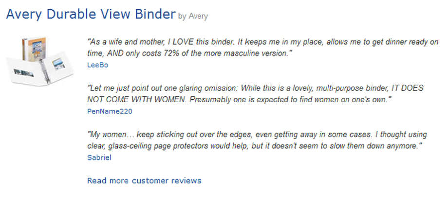 "Some of the top-rated satirical Amazon reviews of the ""Avery Durable View Binder,"" posted after Republican presidential nominee Mitt Romney's ""Binders full of women"" gaffe. Photo: Amazon"