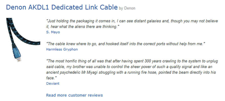 "Some of the top-rated satirical Amazon reviews of the $500 ""Denon AKDL1 Dedicated Link Cable."" Photo: Amazon"