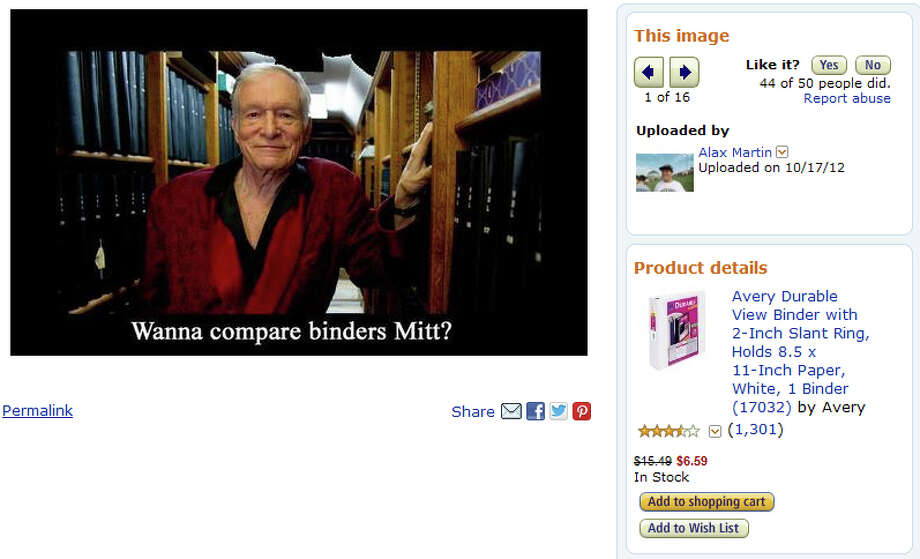 "Customer photo of the ""Avery Durable View Binder,"" featuring Playboy Publisher Hugh Hefner. Photo: Amazon"