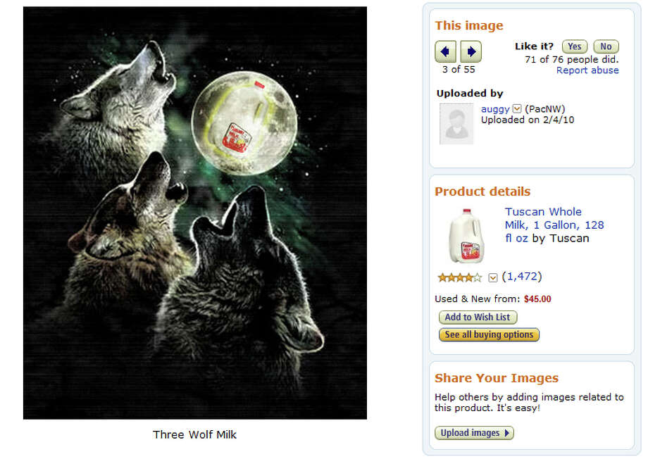 "Customer photo of the Tuscan Whole Milk, 1 gal, featuring the ""Three Wolf Moon T-Shirt."" Photo: Amazon"