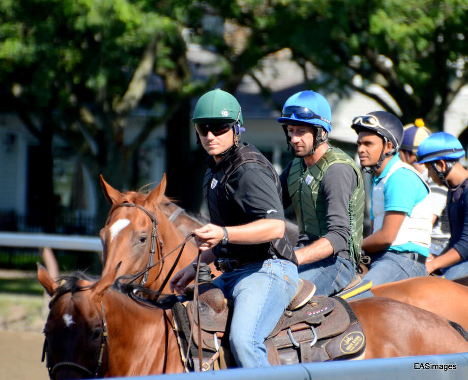 Exercise riders at the Oklahoma Track wait their turn. (Ed Sindoni) Photo: Picasa