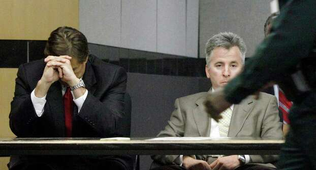 John Goodman, left, sits next to his defense team before a verdict is read in his case on Friday, March, 23, 2012, in West Palm Beach, Fla. A Palm Beach County jury found 48-year-old John Goodman guilty of DUI manslaughter and vehicular homicide.  Goodman was initially charged two years ago in the death of 23-year-old Scott Wilson. Police say a drunken Goodman ran a stop sign and rammed his black Bentley into Wilson's car, causing it to roll into a canal, where the young man died. Authorities say Goodman left the scene and waited nearly an hour to call 911. Goodman faces up to 30 years in prison.   (AP Photo/The Palm Beach Post, Lannis Waters, Pool) Photo: LANNIS WATERS, MBO / OUT TV, MAGAZINES AND SALES