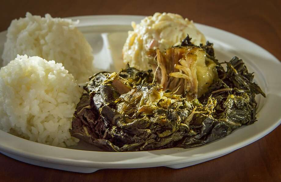 The Lau Lau Plate is pork and butterfish steamed in leaves. Photo: John Storey, Special To The Chronicle