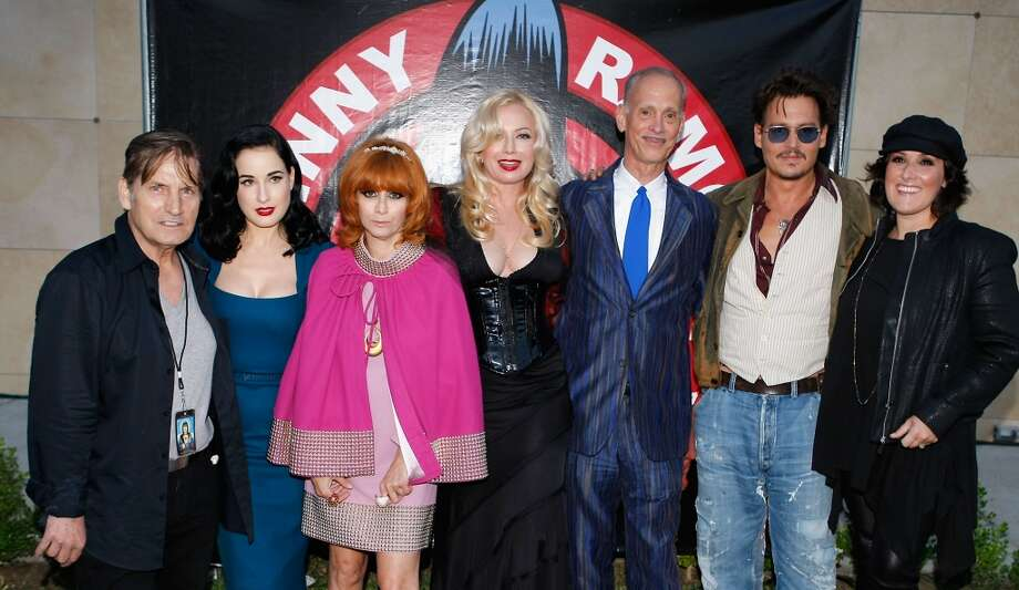 Actor Joe Dallesandro (L), actress Dita Von Teese (2nd L), Linda Ramone (3rd L), actress Traci Lords (C) director John Waters (3rd R), actor Johnny Depp (2nd R) and actress Ricki Lake (R) attend the 9th Annual Johnny Ramone Tribute at Hollywood Forever on August 18, 2013 in Hollywood, California.  (Photo by Sean tSabhasaigh/Getty Images) Photo: Sean TSabhasaigh, Getty Images