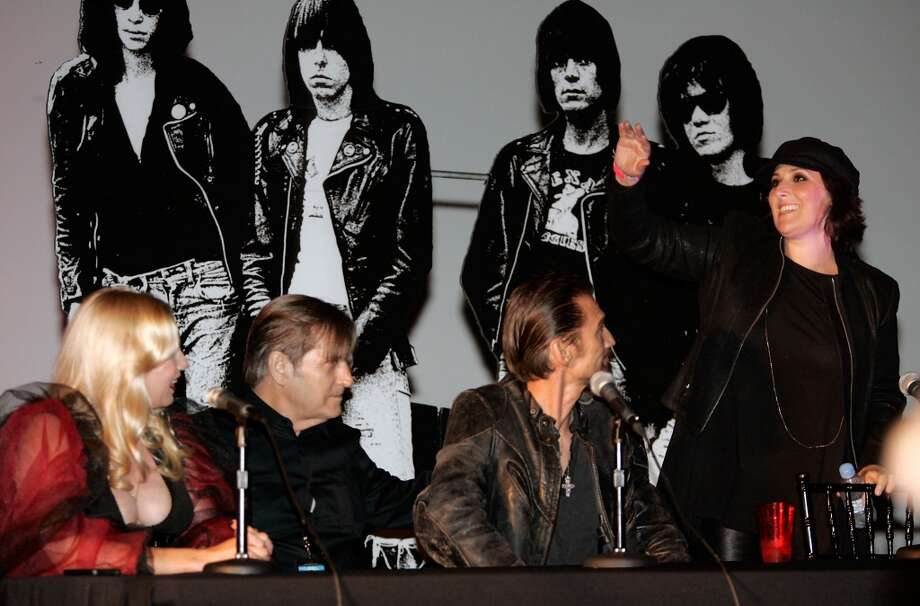 Actress Traci Lords (L), Actor Joe Dallesandro (2nd L), Musician James Intveld (2nd R) and actress Ricki Lake (R) partake in the Q&A before a screening of 'Cry Baby' at the 9th Annual Johnny Ramone Tribute at Hollywood Forever on August 18, 2013 in Hollywood, California.  (Photo by Sean tSabhasaigh/Getty Images) Photo: Sean TSabhasaigh, Getty Images