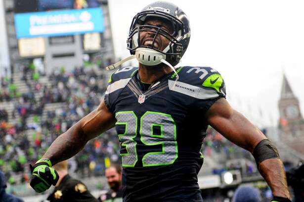 Cornerback Brandon Browner celebrates after the Seahawks' 24-23 win over the Patriots at CenturyLink Field on Sunday, October 14, 2012.