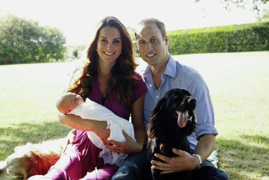 In this handout image provided by Kensington Palace, Catherine, Duchess of Cambridge and Prince William, Duke of Cambridge pose for a photograph with their son, Prince George Alexander Louis of Cambridge, surrounded by Lupo, the couple's cocker spaniel, and Tilly the retriever (a Middleton family pet) in the garden of the Middleton family home in August 2013 in Bucklebury, Berkshire. Photo: Handout, Getty Images / 2013 Getty Images