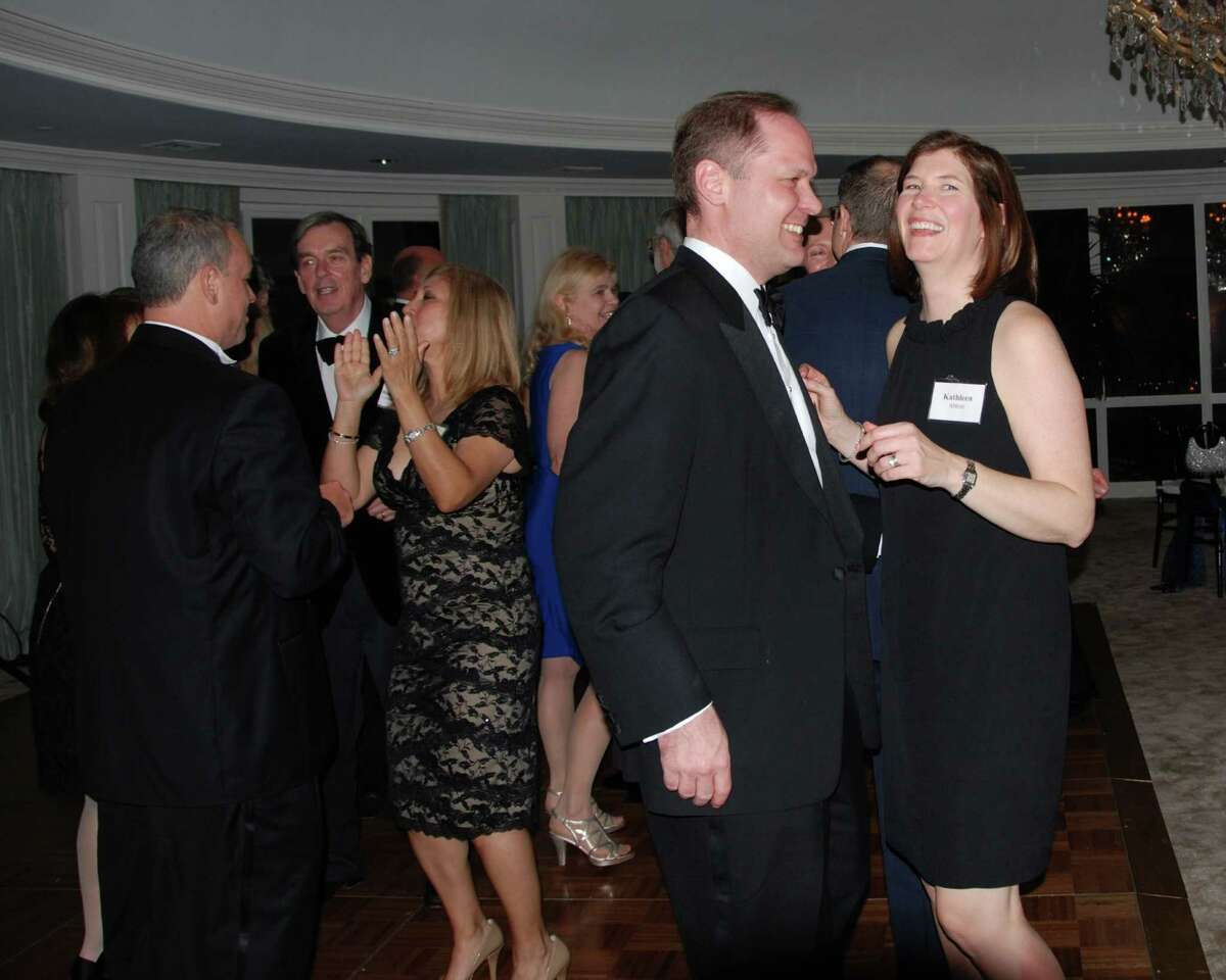 Michael and Kathleen Abbot, in foreground, have a grand time at a recent New Canaan Dance Club event. Behind them are Bob and Jeanette LiCalzi, Bob Urbain and Janet Zaccarelli. The club's new season begins on Sept. 14.