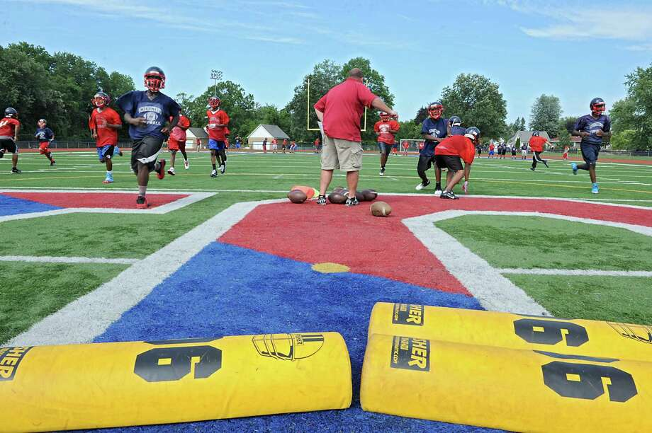 Schenectady high school's JV football team practices Monday afternoon, Aug. 19, 2013, in Schenectady, N.Y. (Lori Van Buren / Times Union) Photo: Lori Van Buren / 00023565A