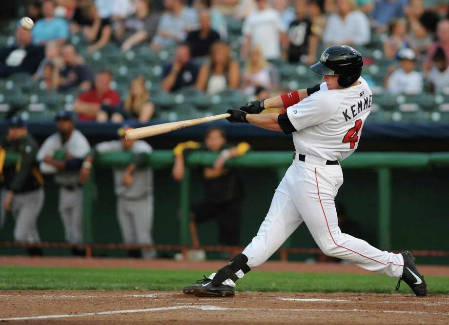 Tri-City ValleyCats Jon Kemmer hits the ball during a baseball game against Vermont at Joe Bruno Stadium on Monday, Aug. 19, 2013 in Troy, N.Y. (Lori Van Buren / Times Union) Photo: Lori Van Buren / 00023557A