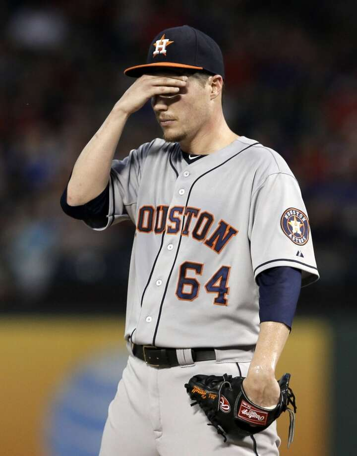 Aug. 19: Rangers 16, Astros 5  Houston pitcher Lucas Harrell struggled mightily in the series-opening loss to Texas.  Record: 41-83. Photo: Tony Gutierrez, Associated Press